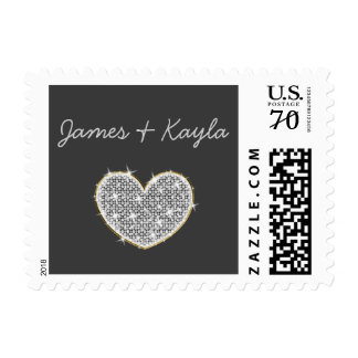 Country Chalkboard Wedding Postage Stamps