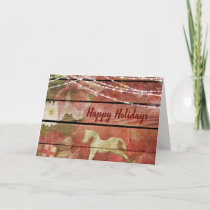Country Charm Flowers Rocking Horse Happy Holidays Holiday Card
