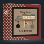 """Country Check Recipe Binder<br><div class=""""desc"""">Cute country nostalgic recipe binder with check background and kitchen cannister shelf artwork. Customize the text to your liking. Designed with artwork from Alice Smith purchased at http://www.digiwebstudio.com DigiWeb Studio. NEW: Matching recipe pages (40 page pad) in two designs!</div>"""
