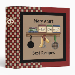 Country Check Recipe Binder at Zazzle