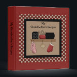 """Country Check Recipe Binder 2<br><div class=""""desc"""">Barn red kitchen binder with red and tan check pattern and nostalgic country kitchen shelf graphics. Customizable text title that you can change reads &quot;My Grandmother&#39;s Recipes&quot;. Created in part with graphics by Alice Smith  from www.digiwebstudio.com. NEW: Matching recipe pages (40 page pad) in two designs!</div>"""