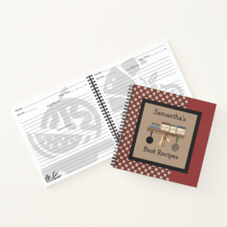 Country Check Recipe Spiral Notebook
