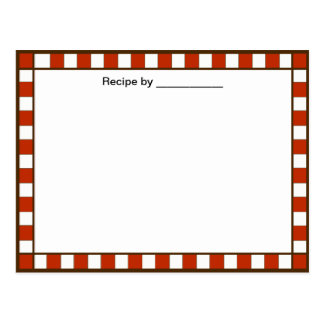 Country Checkered Recipe Blank #2 Card