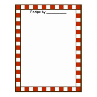 Country Checkered Recipe Blank #2 Card Postcard