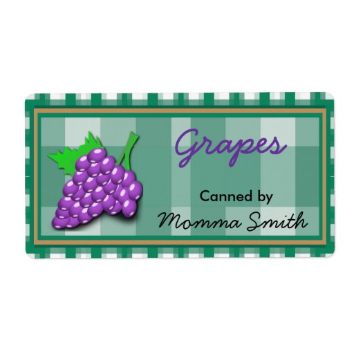 Country Checks Grapes Custom Canning Labels