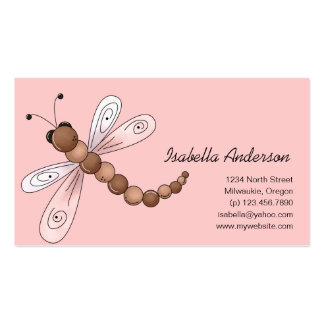 Country Cherries · Brown & Pink Dragonfly Business Card