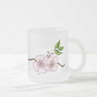 Country Cherries · Cherry Blossom Branch 10 Oz Frosted Glass Coffee Mug