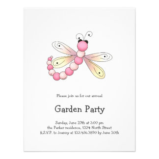 Country Cherries · Pink Apricot Dragonfly Invitations