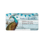 Country Chic Aqua Bunting Vintage Peacock Address Label