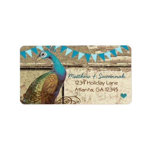 Country Chic Aqua Bunting Vintage Peacock Custom Address Label