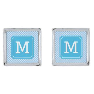 Country Chic Baby Blue Gingham Monogram Cufflinks