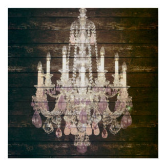 Country chic barn wood Rustic vintage chandelier Poster