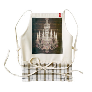 Country chic barn wood Rustic vintage chandelier Zazzle HEART Apron