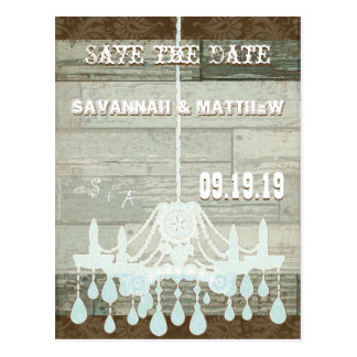 Country Chic Chocolate Mint Rustic  Save the Date Postcard