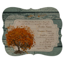 Country Chic Coral Tree Wedding Invitation