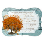"Country Chic Coral Tree Wedding Invitation 5"" X 7"" Invitation Card"