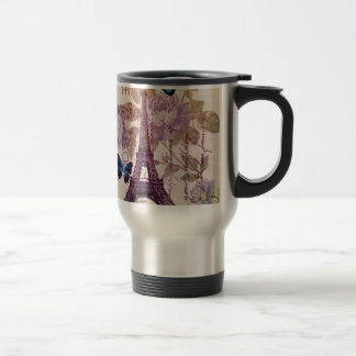 country Chic Floral butterfly Paris Eiffel Tower Travel Mug