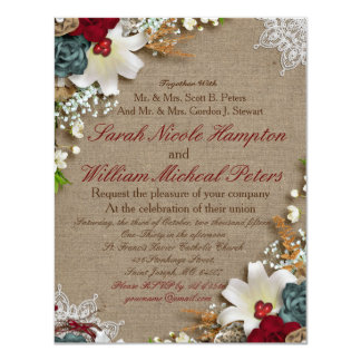 Country Chic Floral Canvas Wedding Invitation