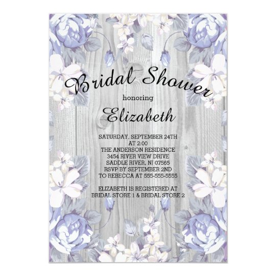 country chic floral wood bridal shower invitation