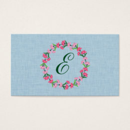 Country Chic Floral Wreath Monogram Business Card