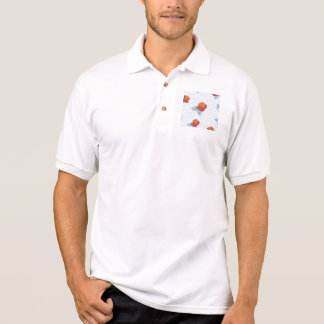 country chic,orange red,pale blue, polka dot,roses polo shirt