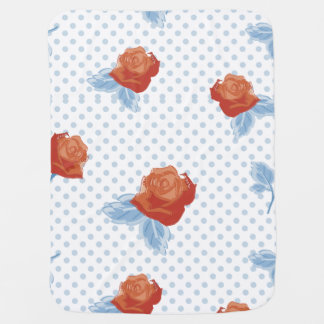 country chic,orange red,pale blue, polka dot,roses receiving blankets