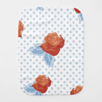 country chic,orange red,pale blue, polka dot,roses baby burp cloths