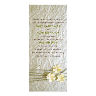 Country Chic Paper Flowers Invitation in White