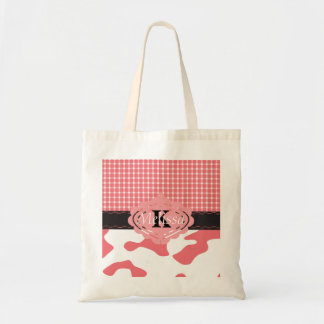 Country Chic Pink Cow & Plaid Monogram Bag