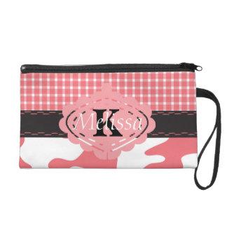 Country Chic Pink Cow & Plaid Monogram Wristlet Purse