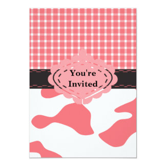 Country Chic Pink Cow & Plaid Monogram Card