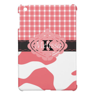 Country Chic Pink Cow & Plaid Monogram Case For The iPad Mini