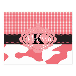 Country Chic Pink Cow & Plaid Monogram Postcard