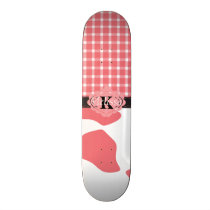 Country Chic Pink Cow & Plaid Monogram Skateboard Deck