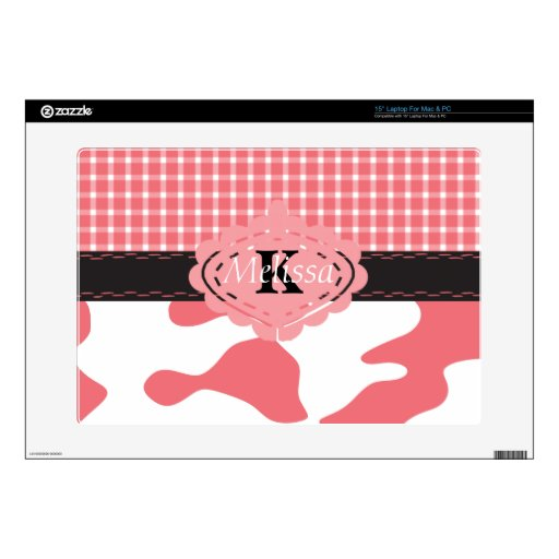 """Country Chic Pink Cow & Plaid Monogram 15"""" Laptop Decals"""