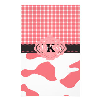 Country Chic Pink Cow & Plaid Monogram Stationery