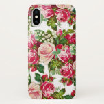 "Country chic pink red green vintage floral iPhone x case<br><div class=""desc"">A country chic vintage pastel pink , red and green bohemian roses flowers.An elegant  romantic red roses flowers pattern on white background perfect  for valentine's day or mothers day or anyone.</div>"
