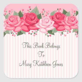 Country Chic Pink Roses and Stripes Bookplate