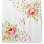 Country Chic Pink Roses Corner Motif Monogram Shower Curtain