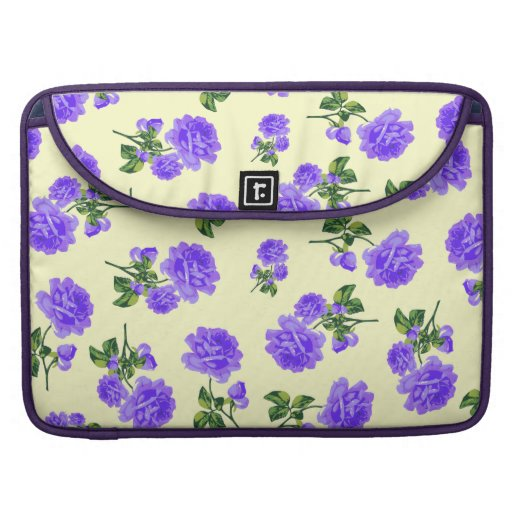 Country chic purple roses on cream MacBook pro sleeve