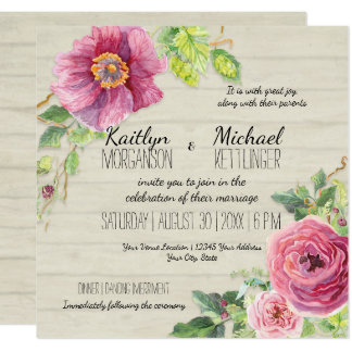 Country Chic Rustic Floral Rose Peony Wood Fence Card