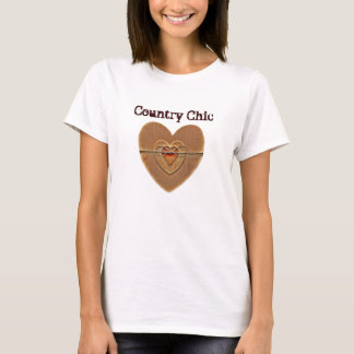 Country Chic Rustic Wooden Hearts Twine Bow T-Shirt