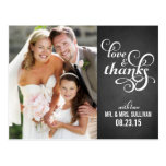 Country Chic Script Wedding Thank You Postcard