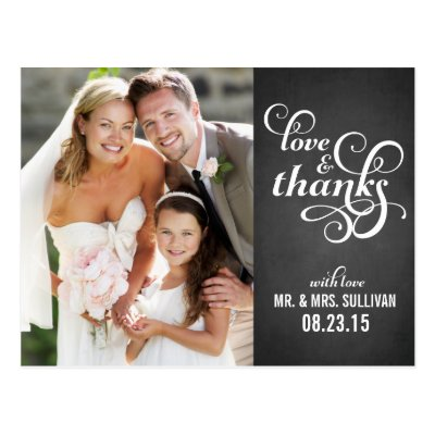 Country Script Wedding Thank You Post card