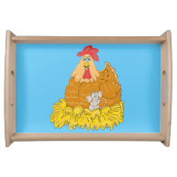 Country Chicken and Mouse Serving Tray