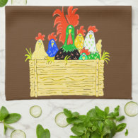 Country Chicken Clan Hand Towel