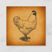 Country Chicken Farm Animal Art Vintage Rooster Enclosure Card