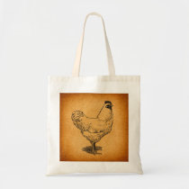 Country Chicken Farm Animal Art Vintage Rooster Tote Bag