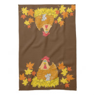 Country Chicken, Mouse, Fall Leaves Kitchen Towel