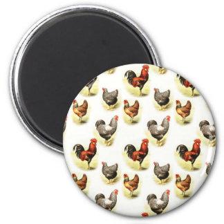 Country Chicken Pattern 2 Inch Round Magnet
